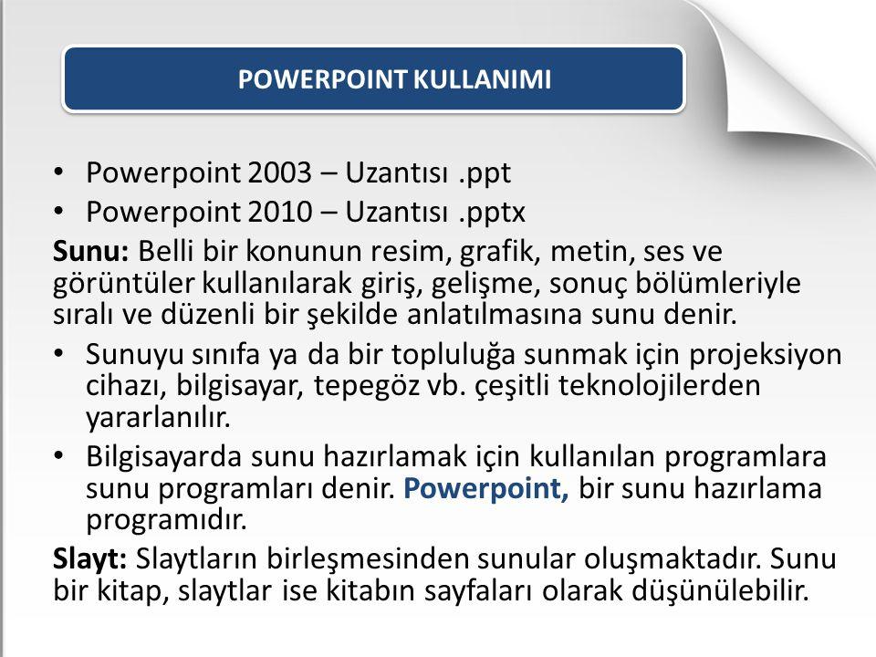 POWERPOINT KULLANIMI Powerpoint 2003 – Uzantısı.ppt Powerpoint 2010 – Uzantısı.pptx Sunu: Belli bir konunun resim, grafik, metin, ses ve görüntüler ku