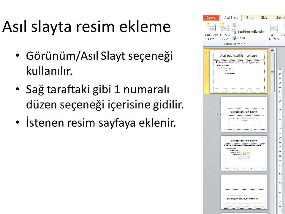 Asıl slayta resim ekleme Görünüm/Asıl Slayt seçeneği kullanılır. Sağ taraftaki gibi 1 numaralı düzen seçeneği içerisine gidilir. İstenen resim sayfaya