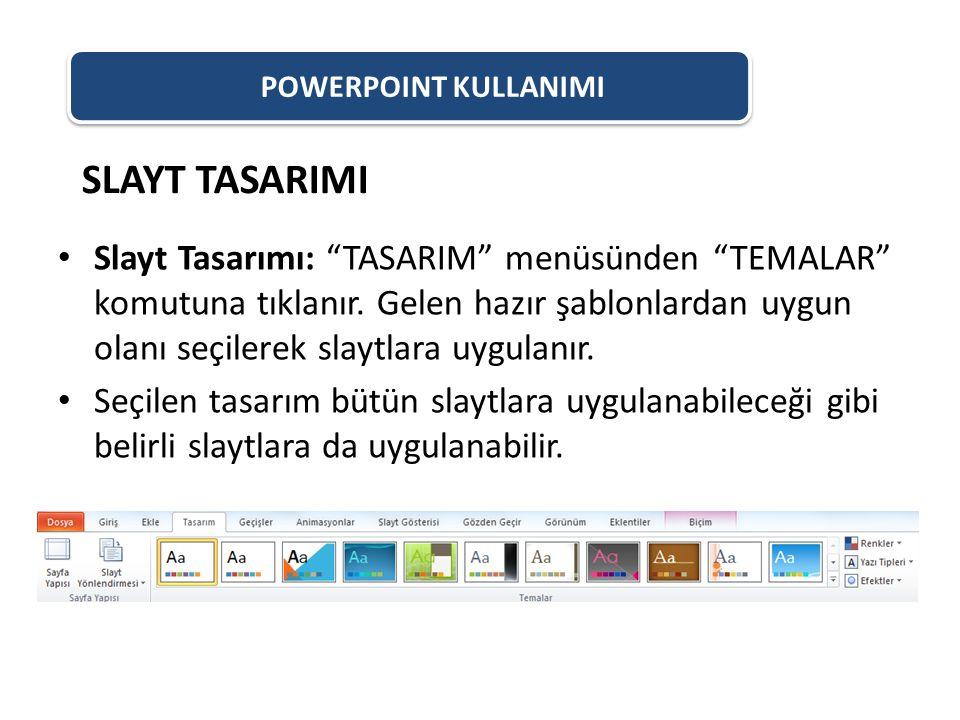 """POWERPOINT KULLANIMI Slayt Tasarımı: """"TASARIM"""" menüsünden """"TEMALAR"""" komutuna tıklanır. Gelen hazır şablonlardan uygun olanı seçilerek slaytlara uygula"""