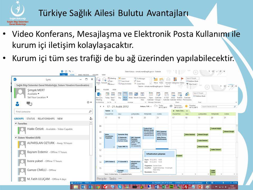 Türkiye Sağlık Ailesi Bulutu Avantajları Video Konferans, Mesajlaşma ve Elektronik Posta Kullanımı ile kurum içi iletişim kolaylaşacaktır.