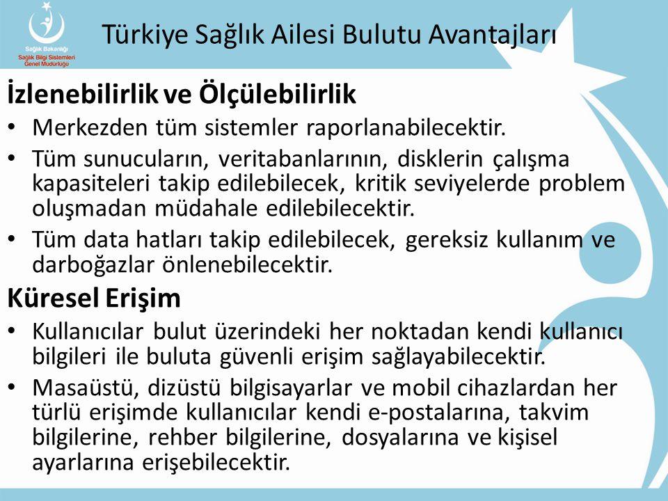 Türkiye Sağlık Ailesi Bulutu Avantajları İzlenebilirlik ve Ölçülebilirlik Merkezden tüm sistemler raporlanabilecektir.