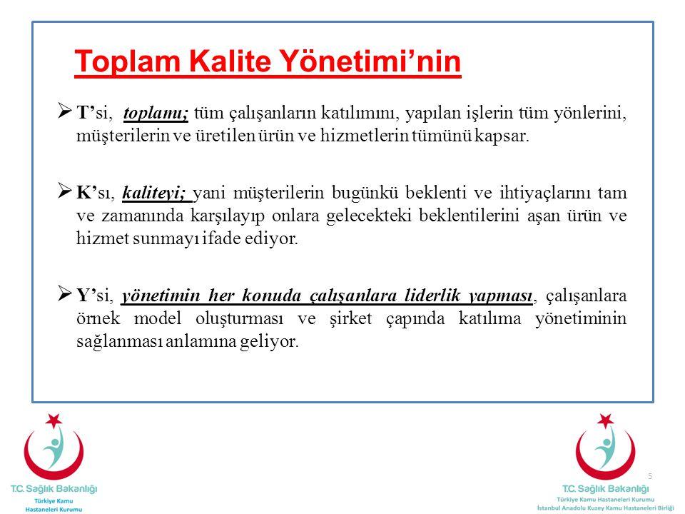 5 Toplam Kalite Yönetimi'nin  T'si, toplamı; tüm çalışanların katılımını, yapılan işlerin tüm yönlerini, müşterilerin ve üretilen ürün ve hizmetlerin