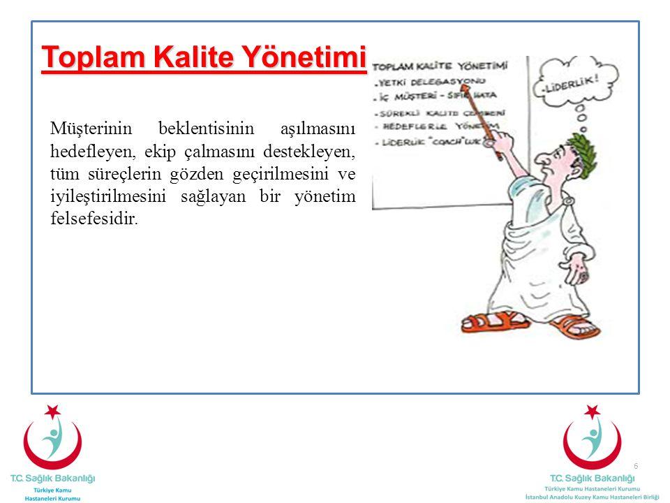Toplam Kalite Yönetimi Müşterinin beklentisinin aşılmasını hedefleyen, ekip çalmasını destekleyen, tüm süreçlerin gözden geçirilmesini ve iyileştirilm