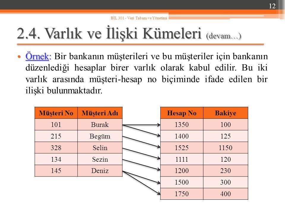 2.4. Varlık ve İlişki Kümeleri (devam…) Örnek: Örnek: Bir bankanın müşterileri ve bu müşteriler için bankanın düzenlediği hesaplar birer varlık olarak