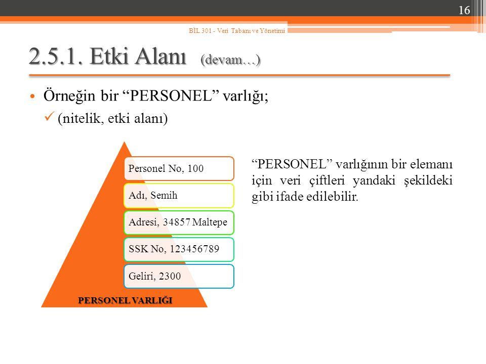 """2.5.1. Etki Alanı (devam…) Örneğin bir """"PERSONEL"""" varlığı; (nitelik, etki alanı) 16 BİL 301 - Veri Tabanı ve Yönetimi Personel No, 100Adı, SemihAdresi"""
