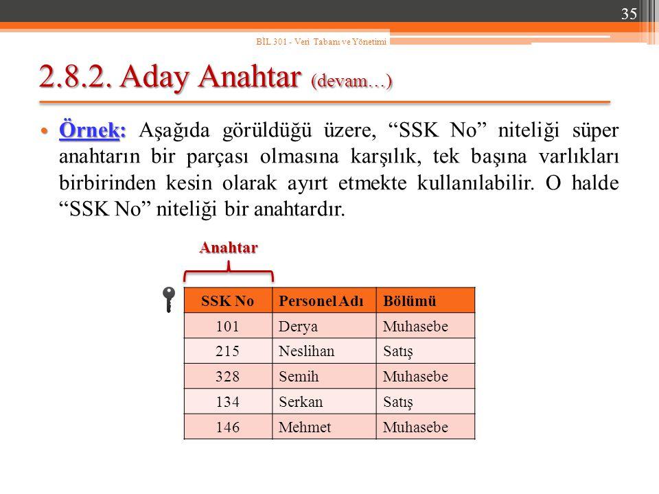 """2.8.2. Aday Anahtar (devam…) Örnek: Örnek: Aşağıda görüldüğü üzere, """"SSK No"""" niteliği süper anahtarın bir parçası olmasına karşılık, tek başına varlık"""
