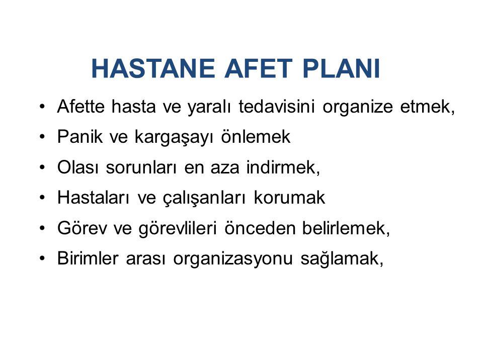 HASTANE AFET PLANI Afette hasta ve yaralı tedavisini organize etmek, Panik ve kargaşayı önlemek Olası sorunları en aza indirmek, Hastaları ve çalışanları korumak Görev ve görevlileri önceden belirlemek, Birimler arası organizasyonu sağlamak,