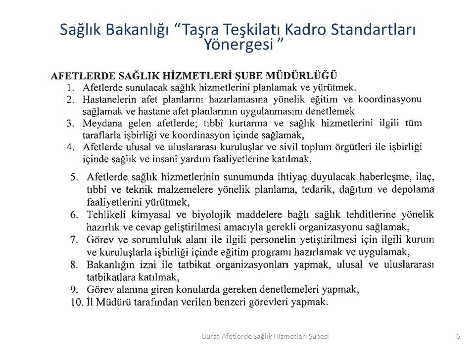 Sağlık Bakanlığı Taşra Teşkilatı Kadro Standartları Yönergesi 6Bursa Afetlerde Sağlık Hizmetleri Şubesi
