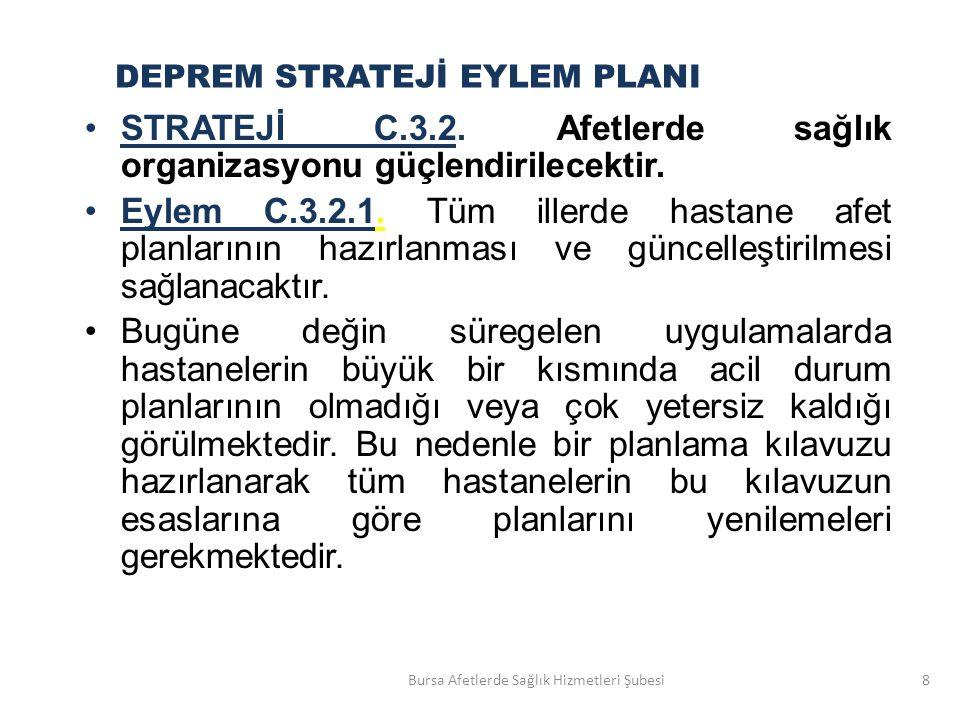 STRATEJİ C.3.2.Afetlerde sağlık organizasyonu güçlendirilecektir.