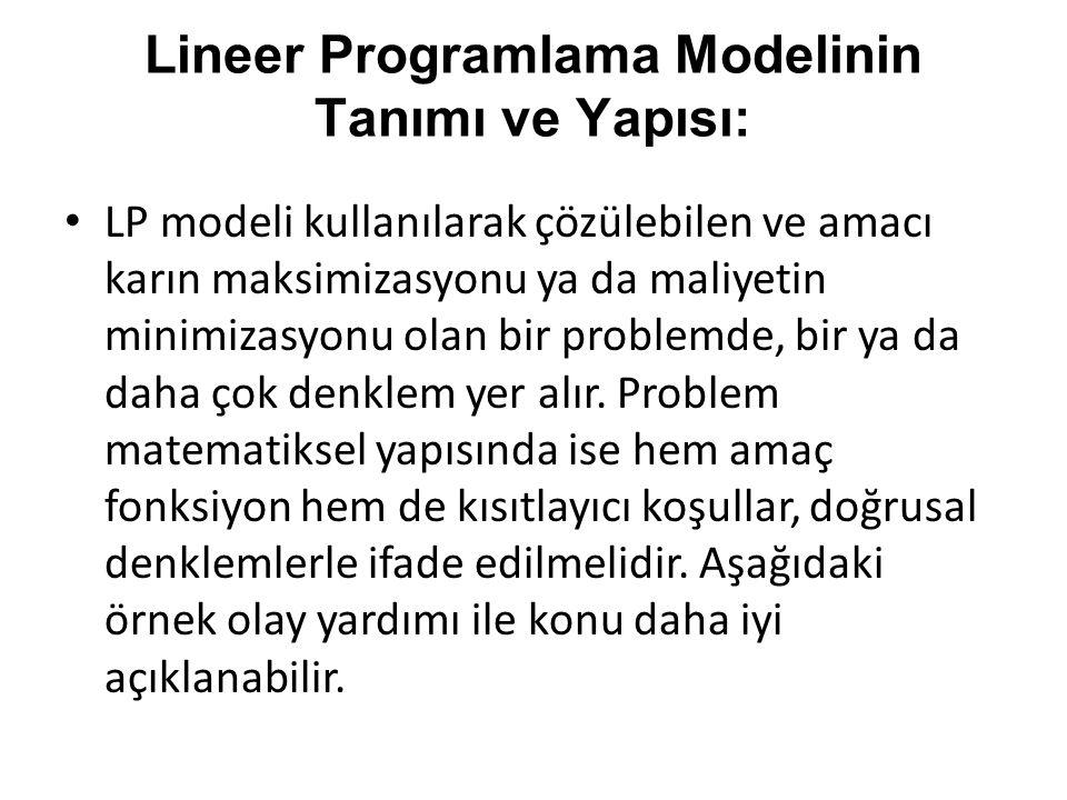 Lineer Programlama Modelinin Tanımı ve Yapısı: LP modeli kullanılarak çözülebilen ve amacı karın maksimizasyonu ya da maliyetin minimizasyonu olan bir
