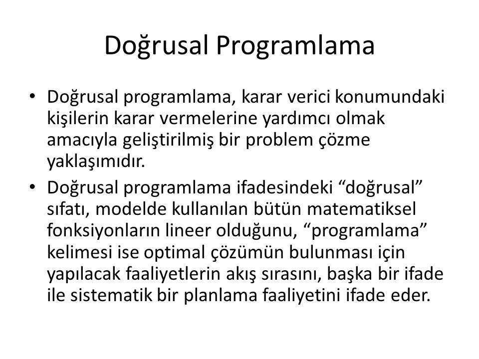 Doğrusal Programlama Doğrusal programlama, karar verici konumundaki kişilerin karar vermelerine yardımcı olmak amacıyla geliştirilmiş bir problem çözm