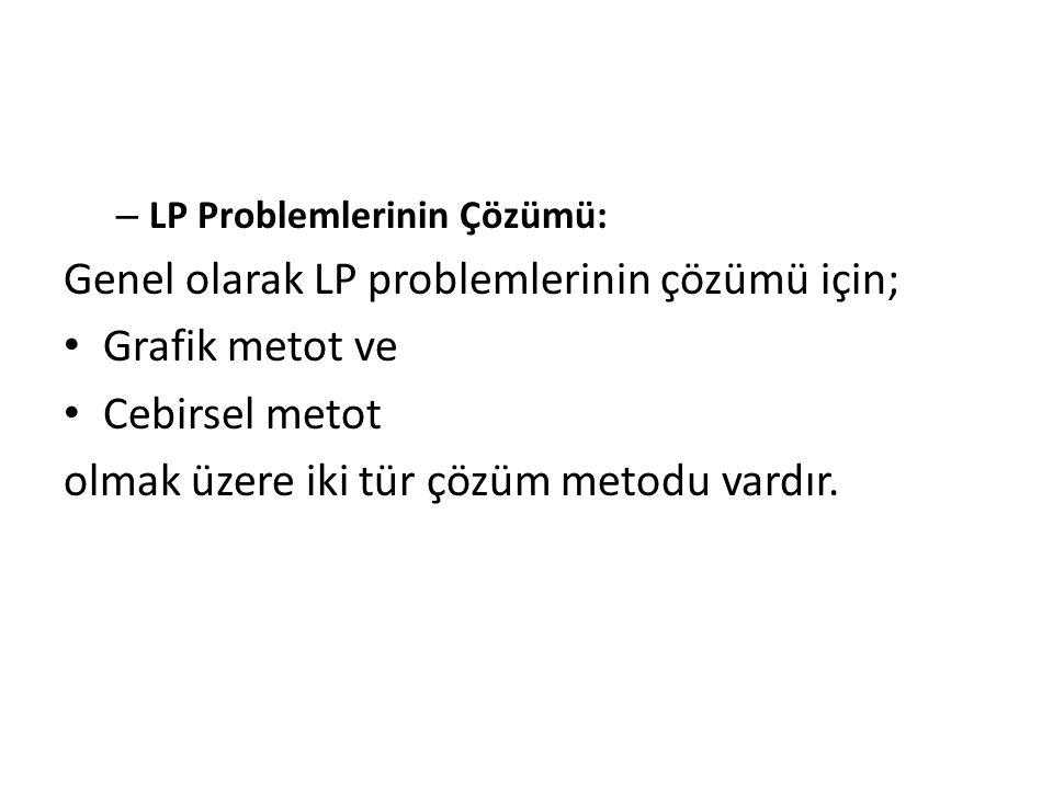 – LP Problemlerinin Çözümü: Genel olarak LP problemlerinin çözümü için; Grafik metot ve Cebirsel metot olmak üzere iki tür çözüm metodu vardır.