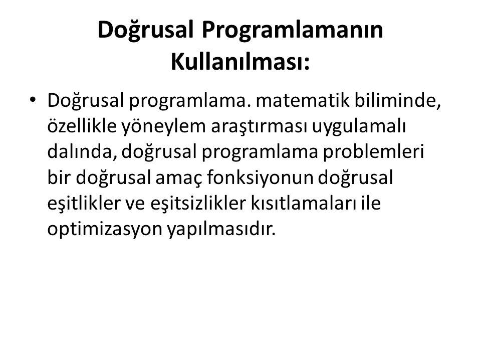 Doğrusal Programlamanın Kullanılması: Doğrusal programlama. matematik biliminde, özellikle yöneylem araştırması uygulamalı dalında, doğrusal programla