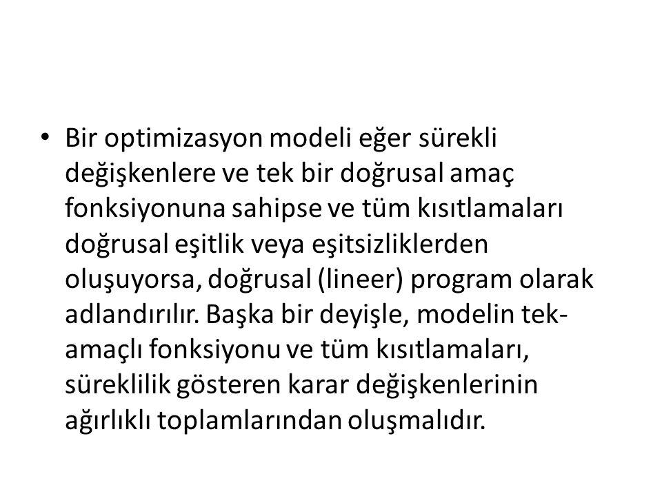 Bir optimizasyon modeli eğer sürekli değişkenlere ve tek bir doğrusal amaç fonksiyonuna sahipse ve tüm kısıtlamaları doğrusal eşitlik veya eşitsizlikl