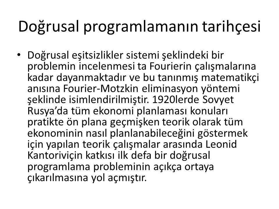 Doğrusal programlamanın tarihçesi Doğrusal eşitsizlikler sistemi şeklindeki bir problemin incelenmesi ta Fourierin çalışmalarına kadar dayanmaktadır v