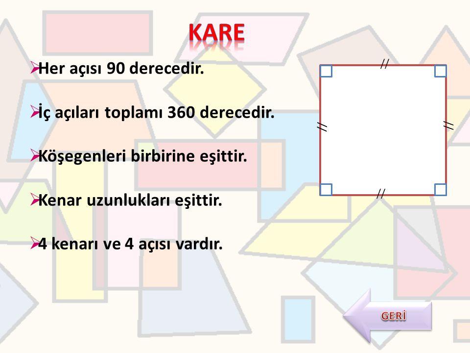  Her açısı 90 derecedir.  İç açıları toplamı 360 derecedir.