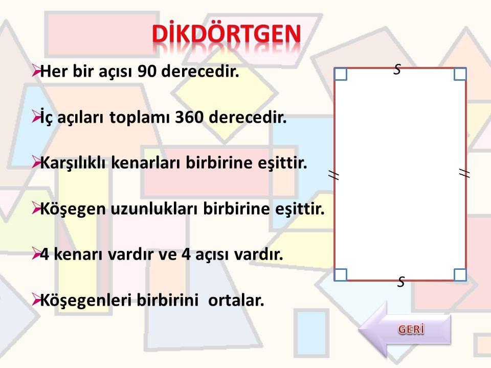  Her bir açısı 90 derecedir.  İç açıları toplamı 360 derecedir.