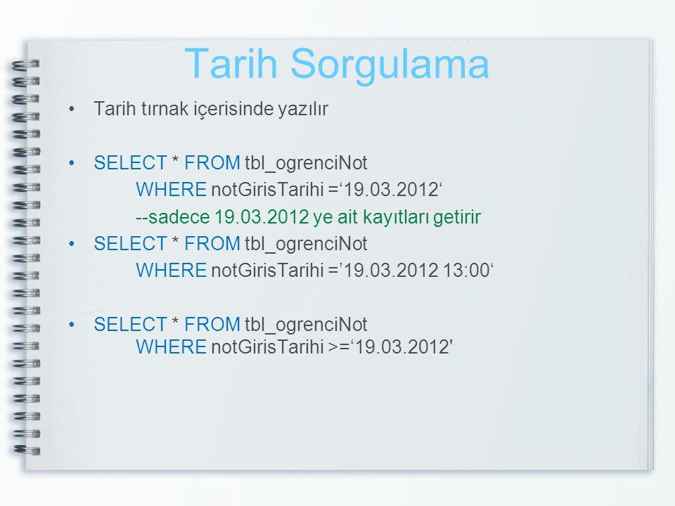 Tarih Sorgulama Tarih tırnak içerisinde yazılır SELECT * FROM tbl_ogrenciNot WHERE notGirisTarihi ='19.03.2012' --sadece 19.03.2012 ye ait kayıtları g