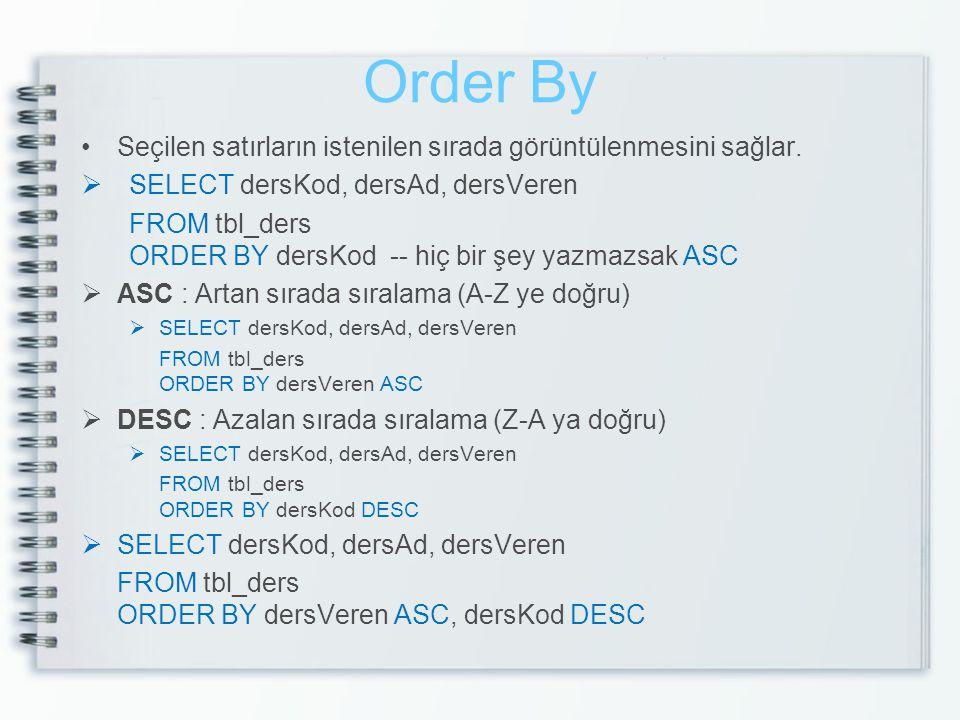 Order By Seçilen satırların istenilen sırada görüntülenmesini sağlar.  SELECT dersKod, dersAd, dersVeren FROM tbl_ders ORDER BY dersKod -- hiç bir şe
