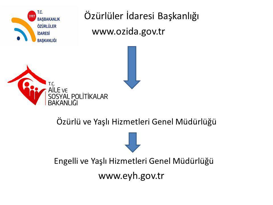 Özürlüler İdaresi Başkanlığı www.ozida.gov.tr Özürlü ve Yaşlı Hizmetleri Genel Müdürlüğü Engelli ve Yaşlı Hizmetleri Genel Müdürlüğü www.eyh.gov.tr