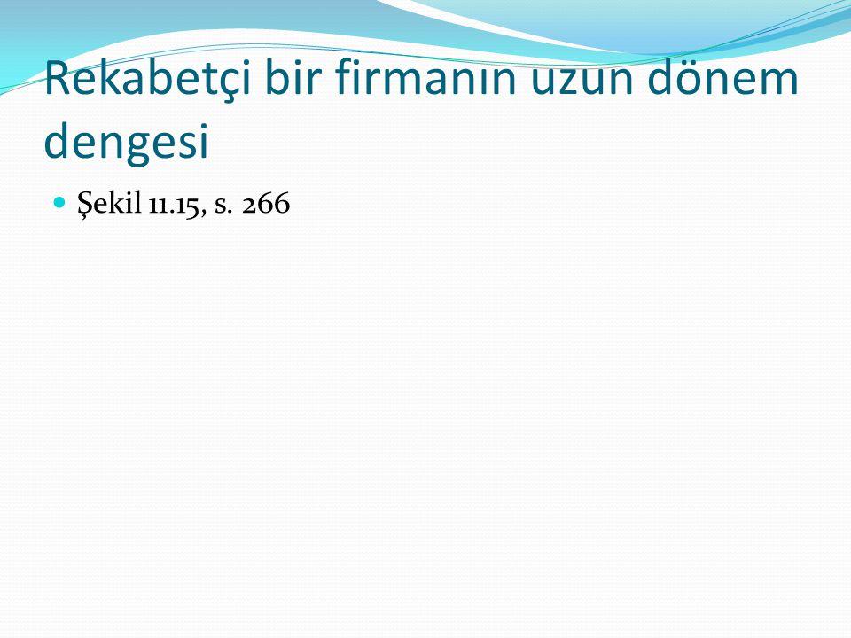 Rekabetçi bir firmanın uzun dönem dengesi Şekil 11.15, s. 266