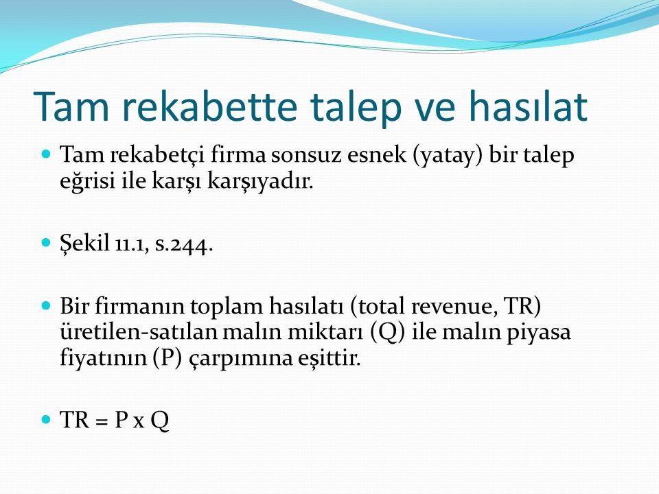 Marjinal hasılat (Marginal revenue, MR) Üretim-satış düzeyindeki bir birimlik artış sonucu toplam hasılatta meydana gelen artıştır.
