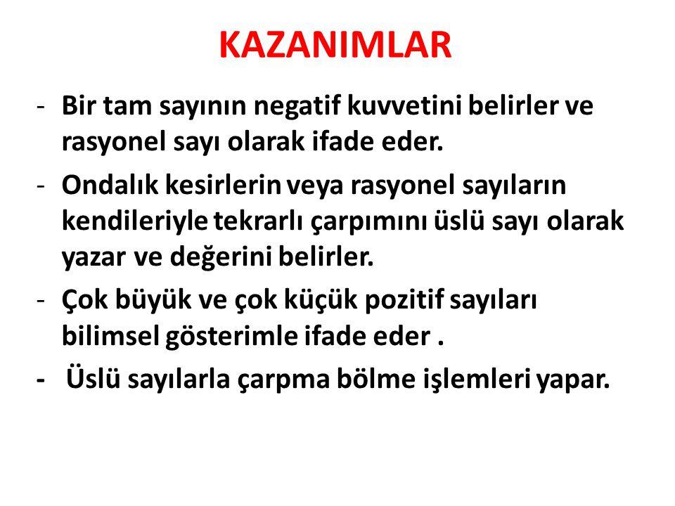 KAZANIMLAR -Bir tam sayının negatif kuvvetini belirler ve rasyonel sayı olarak ifade eder.