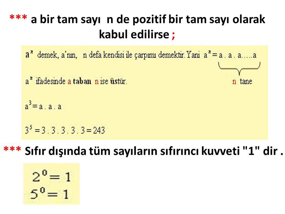*** a bir tam sayı n de pozitif bir tam sayı olarak kabul edilirse ; *** Sıfır dışında tüm sayıların sıfırıncı kuvveti 1 dir.