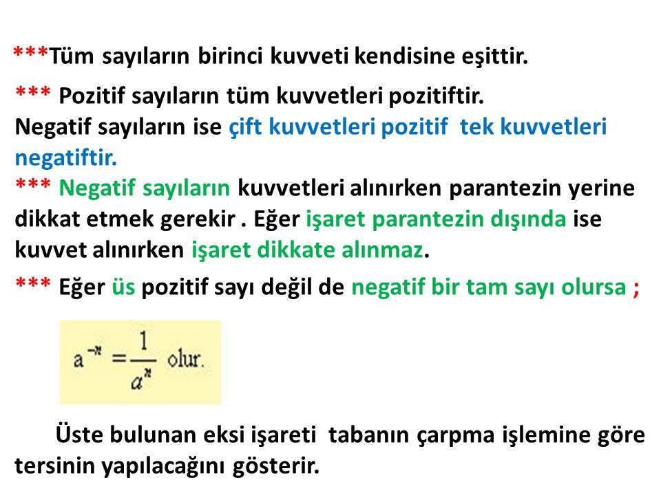 ***Tüm sayıların birinci kuvveti kendisine eşittir. *** Pozitif sayıların tüm kuvvetleri pozitiftir. Negatif sayıların ise çift kuvvetleri pozitif tek