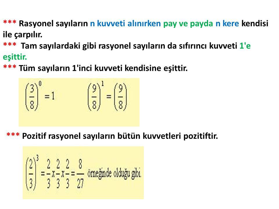 *** Rasyonel sayıların n kuvveti alınırken pay ve payda n kere kendisi ile çarpılır. *** Tam sayılardaki gibi rasyonel sayıların da sıfırıncı kuvveti
