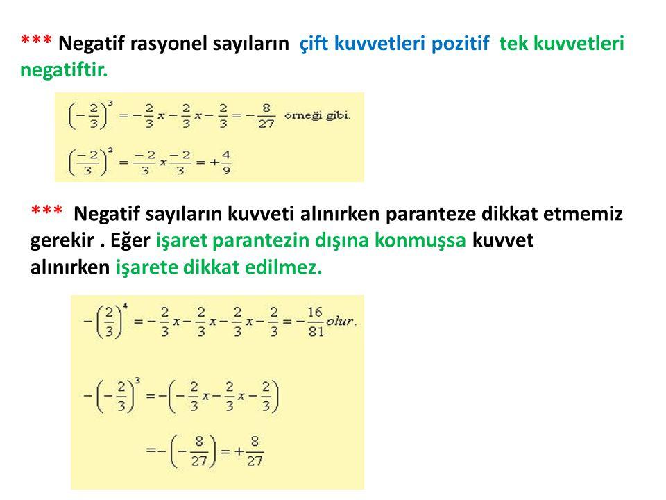 *** Negatif rasyonel sayıların çift kuvvetleri pozitif tek kuvvetleri negatiftir. *** Negatif sayıların kuvveti alınırken paranteze dikkat etmemiz ger