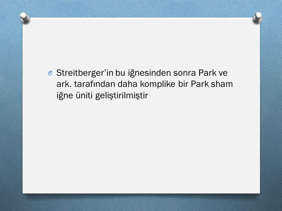 O Streitberger'in bu iğnesinden sonra Park ve ark. tarafından daha komplike bir Park sham iğne üniti geliştirilmiştir