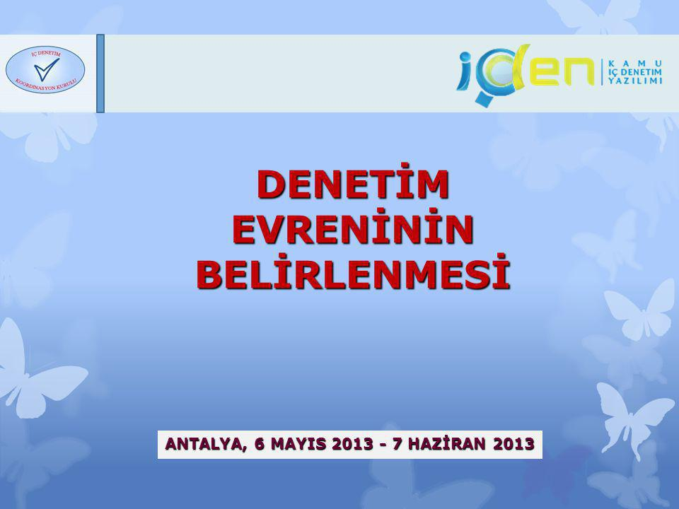 Denetim Evreninin Belirlenmesi, Antalya 2013 EĞİTİMİN HEDEFİ Kamu İç Denetim Standartları (KİDS) Uygulama Önerileri Kalite Güvence ve Geliştirme Programı (KGGP) Uygunluk Kriterleri İç Denetim Otomasyon Programı (İÇDEN) Denetim evreninin oluşturulmasına ilişkin genel esasların paylaşılması