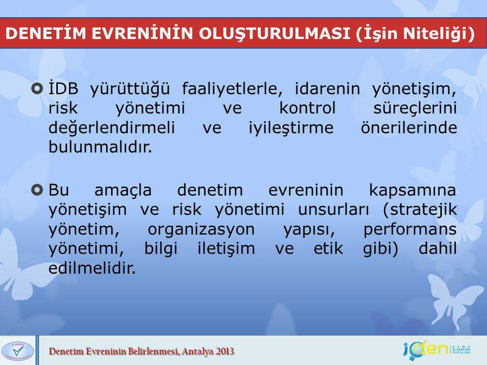 Denetim Evreninin Belirlenmesi, Antalya 2013 DENETİM EVRENİNİN OLUŞTURULMASI (İşin Niteliği)  İDB yürüttüğü faaliyetlerle, idarenin yönetişim, risk y