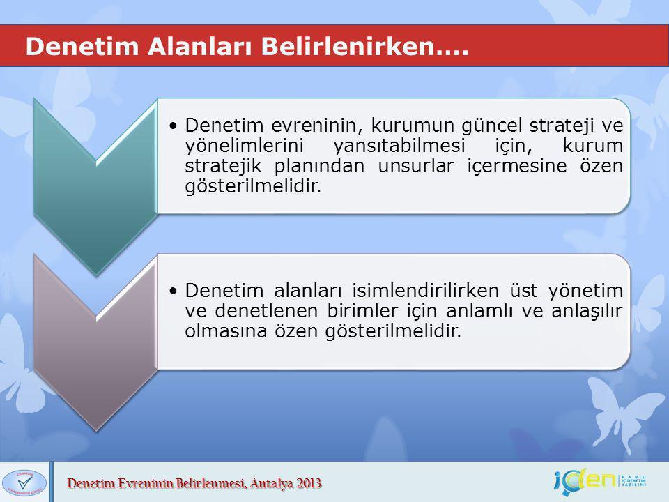Denetim Evreninin Belirlenmesi, Antalya 2013 Denetim Alanları Belirlenirken…. Denetim evreninin, kurumun güncel strateji ve yönelimlerini yansıtabilme