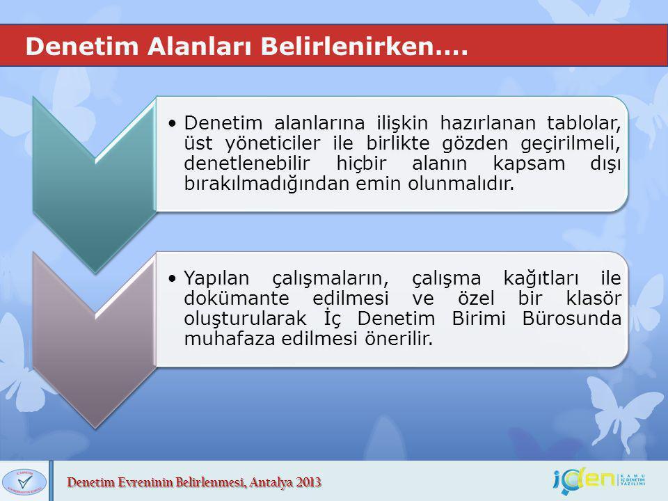 Denetim Evreninin Belirlenmesi, Antalya 2013 Denetim Alanları Belirlenirken…. Denetim alanlarına ilişkin hazırlanan tablolar, üst yöneticiler ile birl