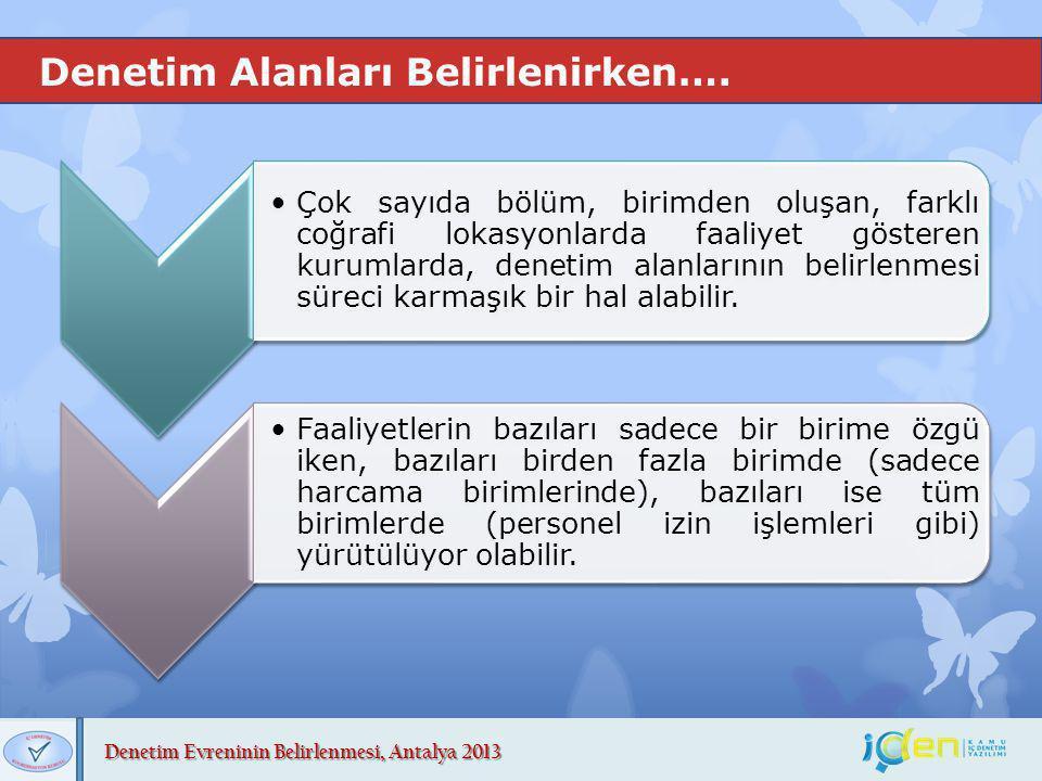 Denetim Evreninin Belirlenmesi, Antalya 2013 Denetim Alanları Belirlenirken…. Çok sayıda bölüm, birimden oluşan, farklı coğrafi lokasyonlarda faaliyet