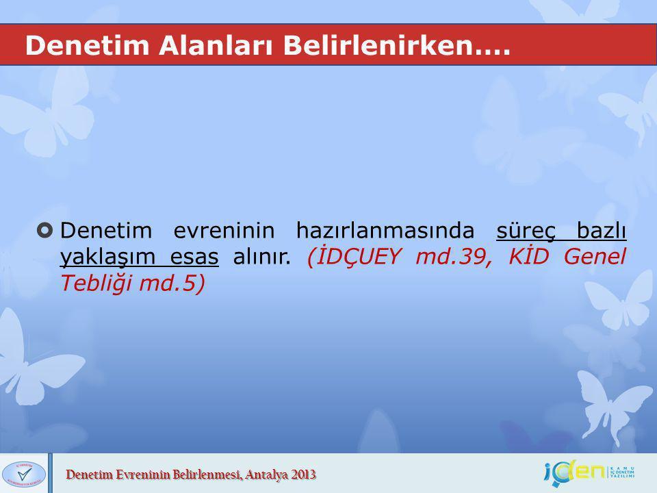 Denetim Evreninin Belirlenmesi, Antalya 2013 Denetim Alanları Belirlenirken….  Denetim evreninin hazırlanmasında süreç bazlı yaklaşım esas alınır. (İ