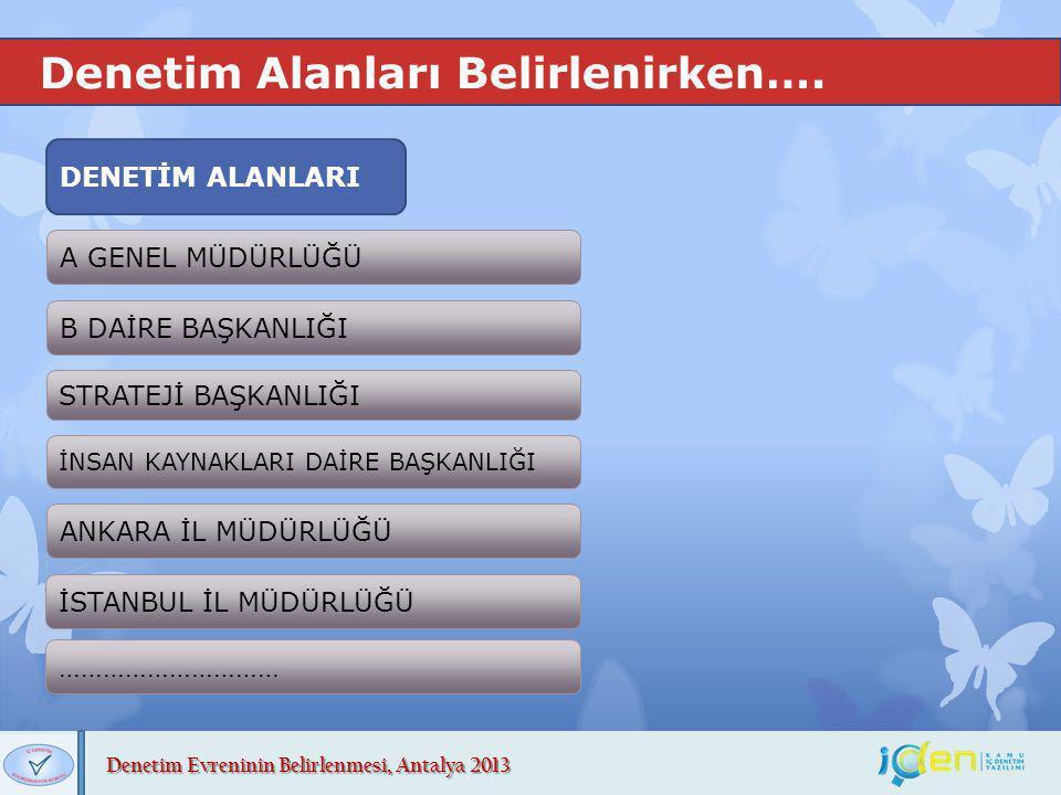 Denetim Evreninin Belirlenmesi, Antalya 2013 Denetim Alanları Belirlenirken…. DENETİM ALANLARI A GENEL MÜDÜRLÜĞÜ B DAİRE BAŞKANLIĞI STRATEJİ BAŞKANLIĞ