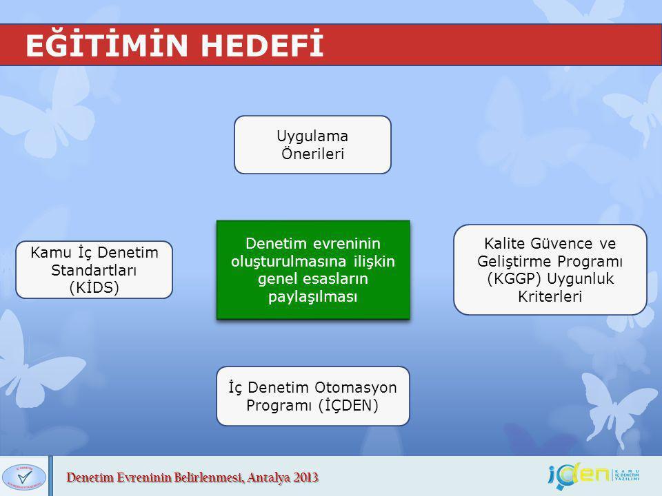 Denetim Evreninin Belirlenmesi, Antalya 2013 EĞİTİMİN HEDEFİ Kamu İç Denetim Standartları (KİDS) Uygulama Önerileri Kalite Güvence ve Geliştirme Progr