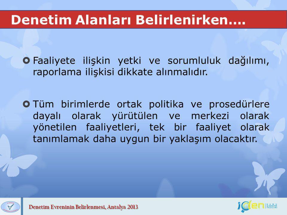 Denetim Evreninin Belirlenmesi, Antalya 2013 Denetim Alanları Belirlenirken….  Faaliyete ilişkin yetki ve sorumluluk dağılımı, raporlama ilişkisi dik