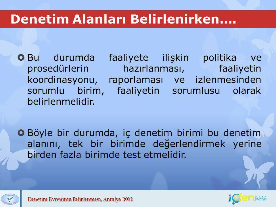 Denetim Evreninin Belirlenmesi, Antalya 2013 Denetim Alanları Belirlenirken….  Bu durumda faaliyete ilişkin politika ve prosedürlerin hazırlanması, f