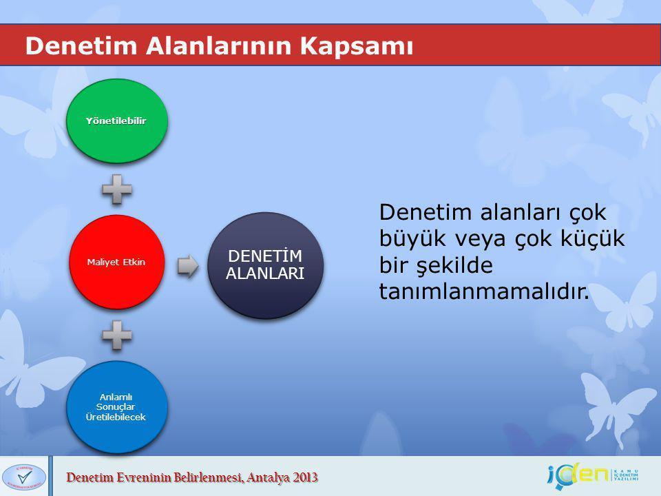Denetim Evreninin Belirlenmesi, Antalya 2013 Denetim Alanlarının Kapsamı Denetim alanları çok büyük veya çok küçük bir şekilde tanımlanmamalıdır. Yöne