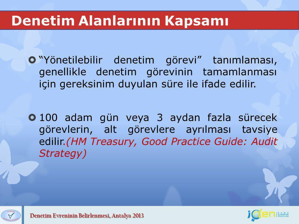 """Denetim Evreninin Belirlenmesi, Antalya 2013 Denetim Alanlarının Kapsamı  """"Yönetilebilir denetim görevi"""" tanımlaması, genellikle denetim görevinin ta"""
