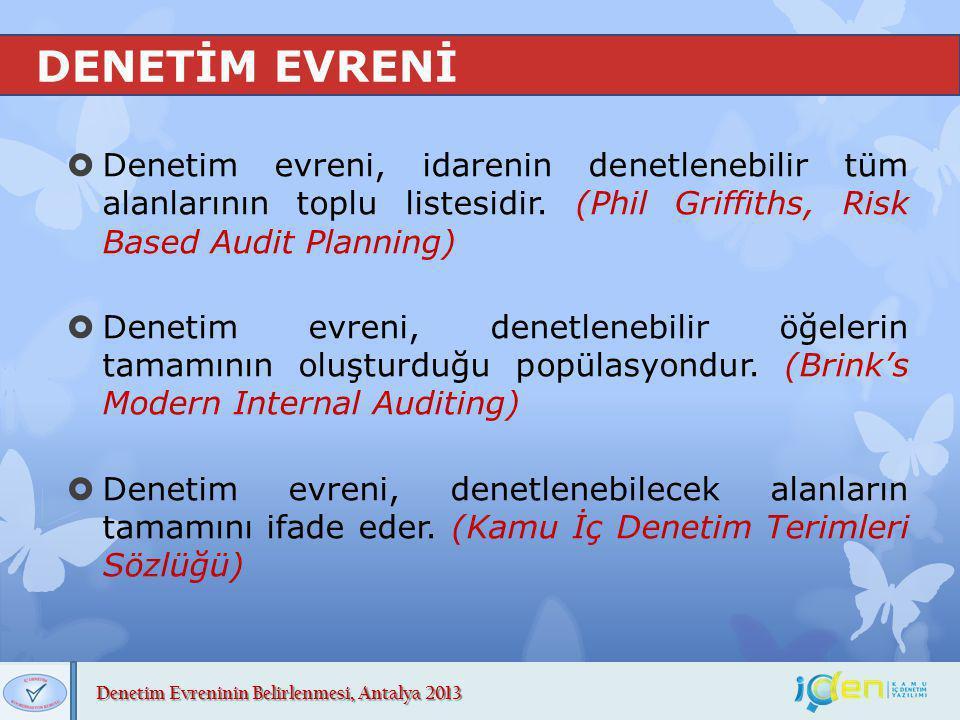 Denetim Evreninin Belirlenmesi, Antalya 2013 DENETİM EVRENİ  Denetim evreni, idarenin denetlenebilir tüm alanlarının toplu listesidir. (Phil Griffith