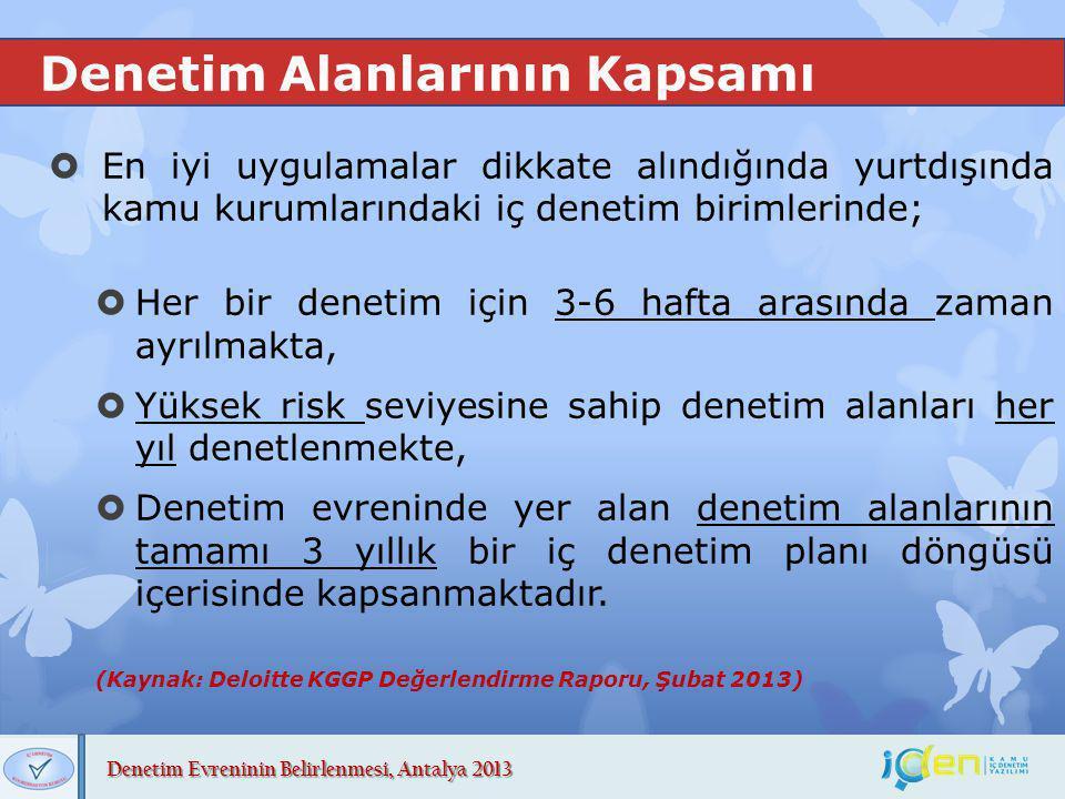 Denetim Evreninin Belirlenmesi, Antalya 2013 Denetim Alanlarının Kapsamı  En iyi uygulamalar dikkate alındığında yurtdışında kamu kurumlarındaki iç d