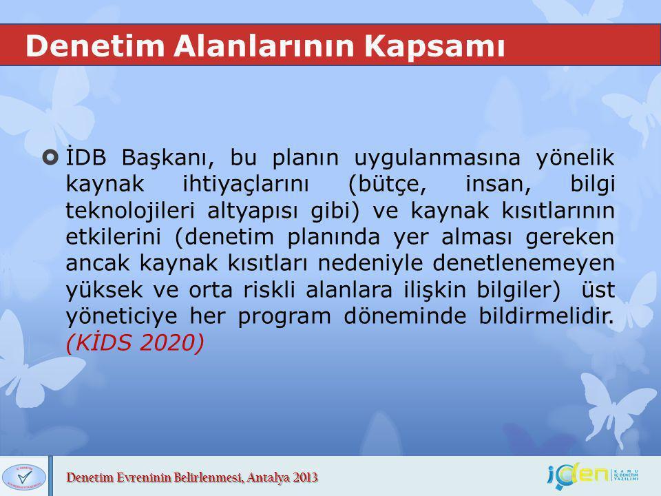 Denetim Evreninin Belirlenmesi, Antalya 2013 Denetim Alanlarının Kapsamı  İDB Başkanı, bu planın uygulanmasına yönelik kaynak ihtiyaçlarını (bütçe, i