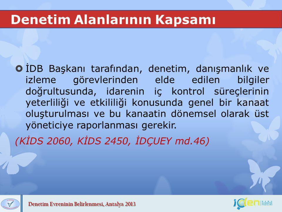 Denetim Evreninin Belirlenmesi, Antalya 2013 Denetim Alanlarının Kapsamı  İDB Başkanı tarafından, denetim, danışmanlık ve izleme görevlerinden elde e