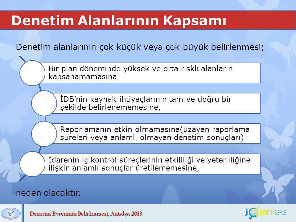 Denetim Evreninin Belirlenmesi, Antalya 2013 Denetim Alanlarının Kapsamı Denetim alanlarının çok küçük veya çok büyük belirlenmesi; Bir plan döneminde