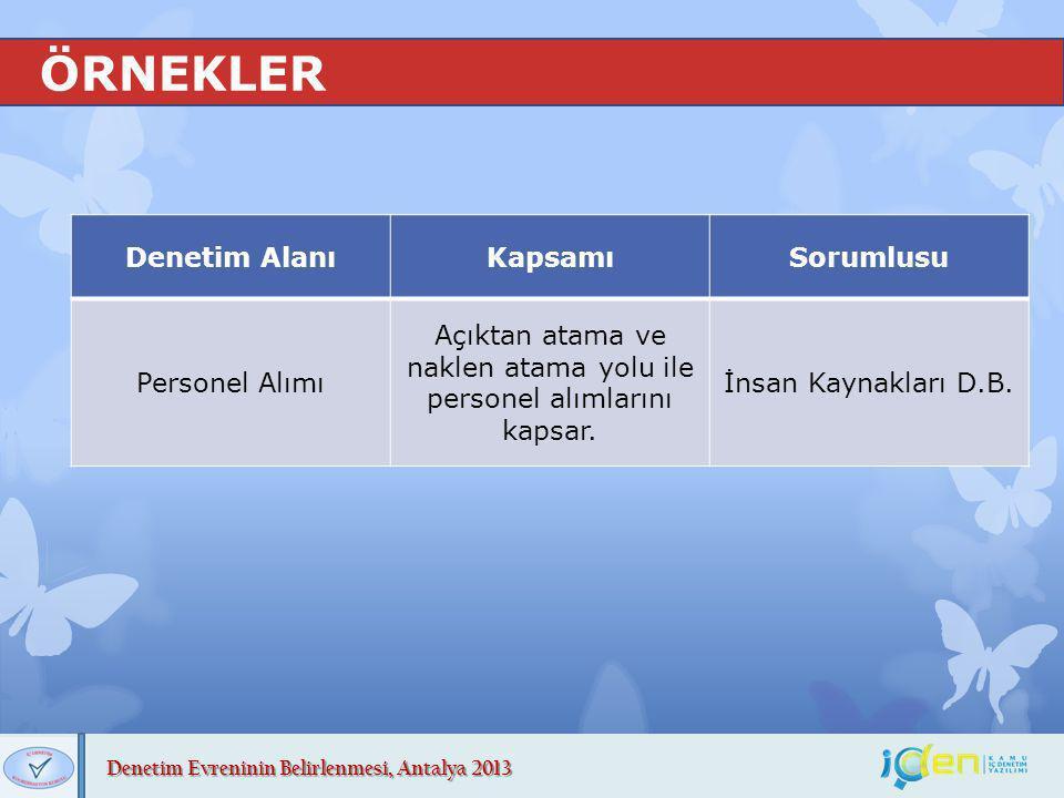 Denetim Evreninin Belirlenmesi, Antalya 2013 ÖRNEKLER Denetim AlanıKapsamıSorumlusu Personel Alımı Açıktan atama ve naklen atama yolu ile personel alı